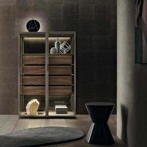 Light Luxury Metal Frame Wood Cabinet Barrel Four-drawer Cabinet KP-LS-0003 Cabinet Project - 6