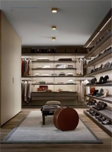 Light Luxury Open Wardrobe With Aluminium Frame And Wooden Panels KP-LW-0003 Cabinet Project - 8
