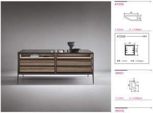 Light Luxury aluminium framed glass island coffee table cabinet KP-LT-0001 Cabinet Project - 4