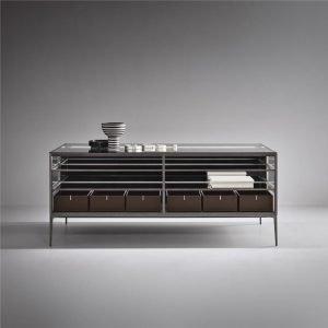 Light Luxury aluminium framed glass island coffee table cabinet KP-LT-0001 Cabinet Project - 3
