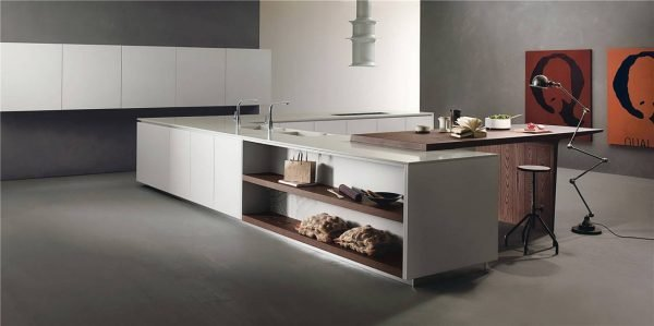 Flat-Front Modern Style Kitchen Cabinets KP-KC-0008 Cabinet Project - 1