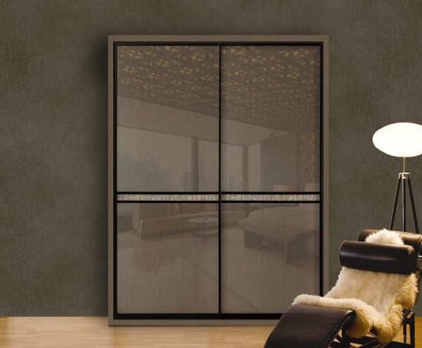 Light Luxury 18mm Aluminium Framed Glass Wardrobe Sliding Doors KP-LW-0001 Cabinet Project - 2