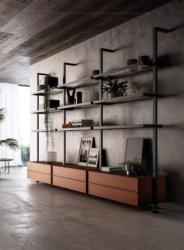 Light Luxury Aluminium Framed Wooden Panelled Bookcase Shelf Storage Organizer KP-LS-0002 Cabinet Project - 3