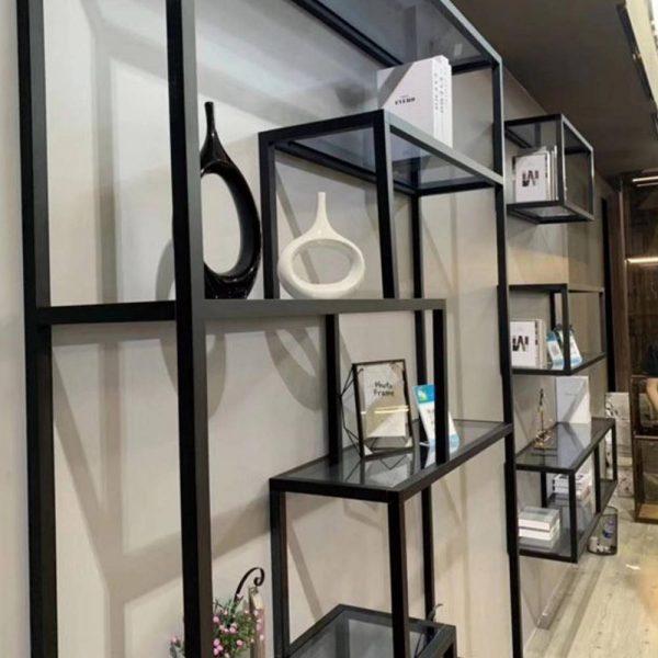 Light Luxury Metal-framed Glass Panelled Bookcase Shelf Storage Organizer KP-LS-0001 Cabinet Project - 1