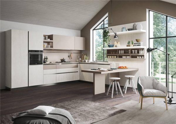 White Woodmark Flat-Front Custom Kitchen Cabinet Mixing Door Styles KP-KC-0001 Cabinet Project - 1