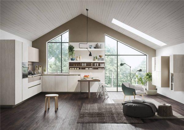 White Woodmark Flat-Front Custom Kitchen Cabinet Mixing Door Styles KP-KC-0001 Cabinet Project - 4