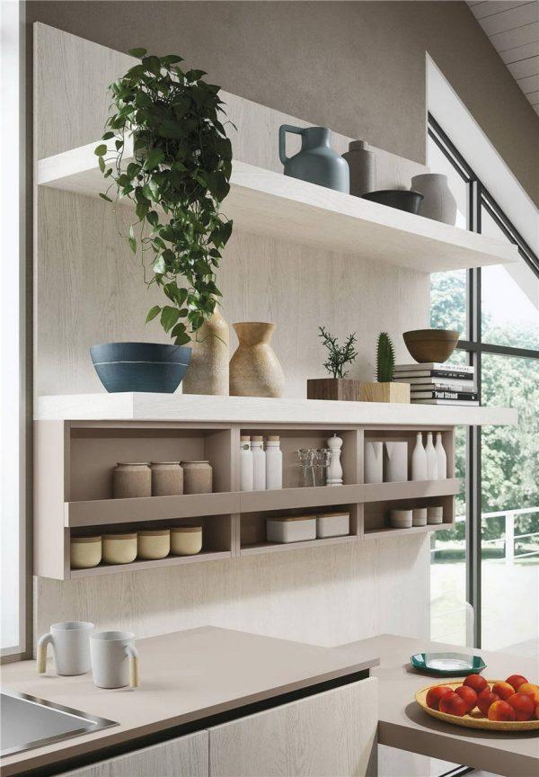White Woodmark Flat-Front Custom Kitchen Cabinet Mixing Door Styles KP-KC-0001 Cabinet Project - 3