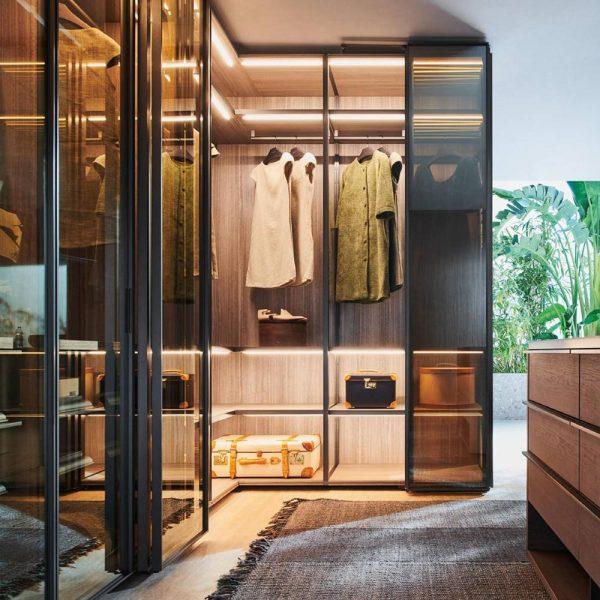 Light Luxury Aluminium Framed Wood Panelled Glass Door Wardrobe KP-LW-0004 Cabinet Project - 7