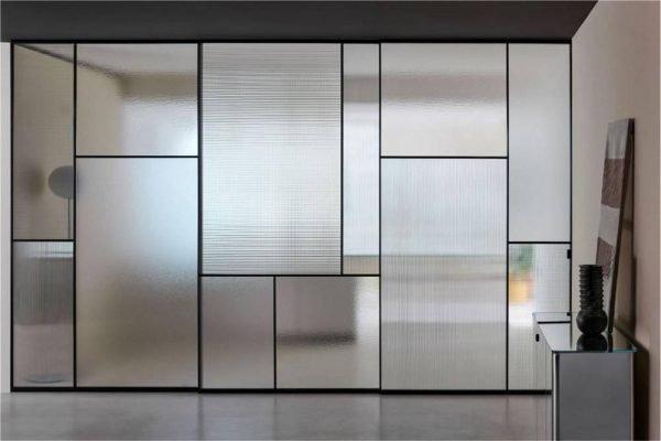Light Luxury Fashion Top Hung Sliding Glass Doors Aluminum Framed KP-LD-0001 Cabinet Project - 1