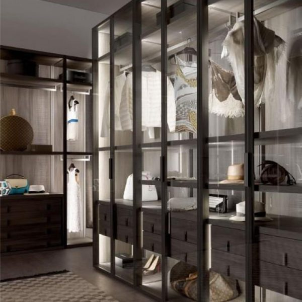 Light Luxury Fully Transparent Aluminium Framed Glass Wardrobe KP-LW-0002 Cabinet Project - 5