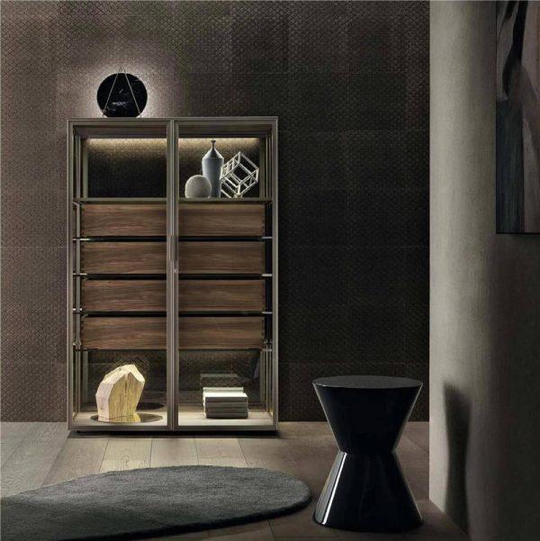 Light Luxury Metal Frame Wood Cabinet Barrel Four-drawer Cabinet KP-LS-0003 Cabinet Project - 5