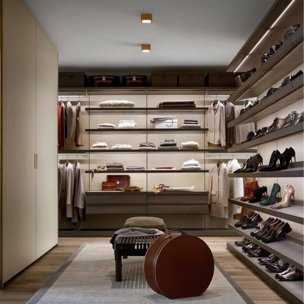 Light Luxury Open Wardrobe With Aluminium Frame And Wooden Panels KP-LW-0003 Cabinet Project - 7