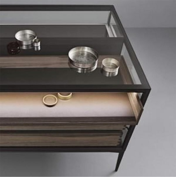 Light Luxury aluminium framed glass island coffee table cabinet KP-LT-0001 Cabinet Project - 2