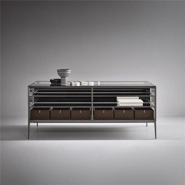 Light Luxury aluminium framed glass island coffee table cabinet KP-LT-0001 Cabinet Project - 1