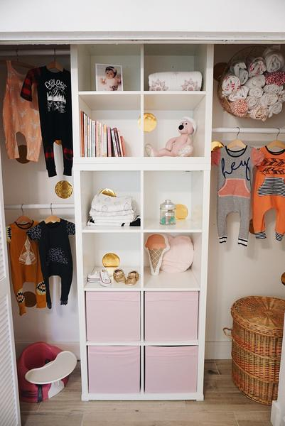Nursery Ideas, open closet with shelves, Baby's Closet Cabinet Project - 3